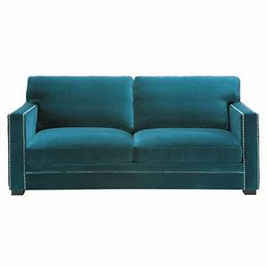 Canapé Bleu Velours : canap 3 4 places en velours bleu dandy maisons du monde ~ Teatrodelosmanantiales.com Idées de Décoration