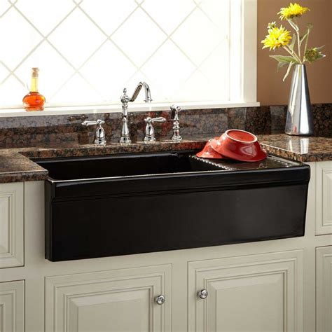 italian sinks for kitchens 36 quot aulani italian fireclay farmhouse sink with drainboard 4878