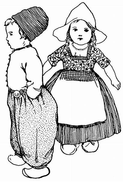Dutch Dolls Clip Doll Clipart Coloring Paper