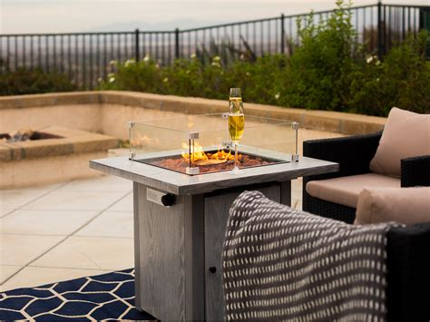 It shelters the flame while providing a safety barrier for users along with polished edges. Outdoor Firepit Table Heater Fire Pit Ignition w/ Wind ...