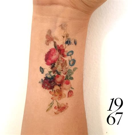 vintage floral temporary tattoo fresh bouquet  flowers