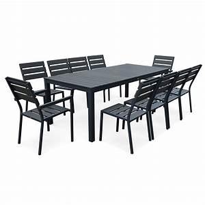 Table De Jardin Aluminium 12 Personnes : salon de jardin 10 places en aluminium et polywood ~ Edinachiropracticcenter.com Idées de Décoration