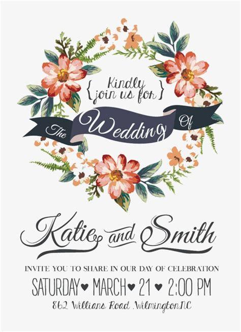 watercolor flowers wedding invitations vector material