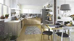 cuisine equipee scandinave en l vega bois marron With idee de plan de maison 8 couleur cuisine photo de vues 3d de la cuisine la