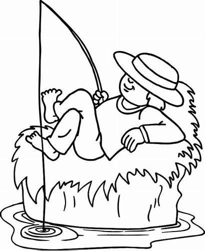 Sleeping Fisherman Coloring While Pages Sketch Template
