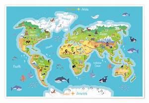 Weltkarte Kontinente Kinder : world map for children german posters and prints ~ A.2002-acura-tl-radio.info Haus und Dekorationen