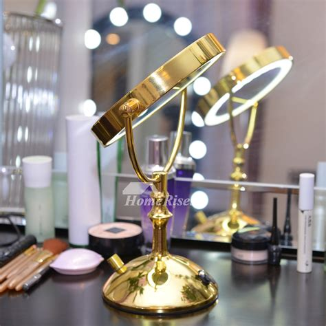 polished brass luxury led vanity makeup mirror double sided