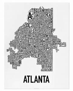 Atlanta Neighborhood Map 18 U0026quot  X 24 U0026quot  Classic Black  U0026 White Poster