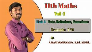 11th Maths Sets  Relation  Functions In Tamil  Unit 1 Example 1  24