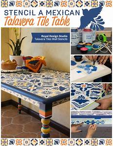 Stencil a Mexican Talavera Tile Table - Paint + Pattern