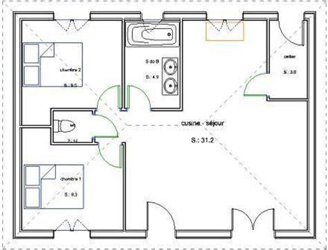 plan maison plain pied 2 chambres gratuit pavillon de plain pied en bois avec 2 chambres