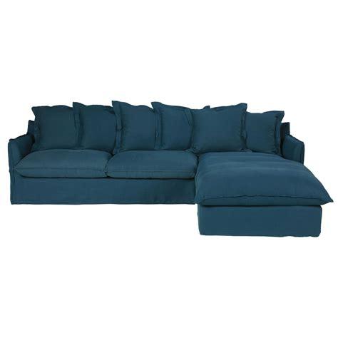 canapé angle 7 places canapé d 39 angle droit 7 places en lavé bleu pétrole