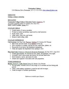 culinary internship resume exles resume sles career connoisseur