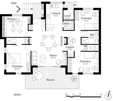 plan maison plain pied 3 chambres 1 bureau plan chalet plain pied ooreka