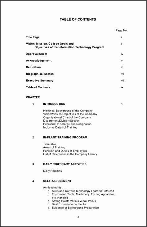 table  contents template  report