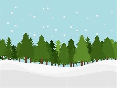 Cartoon Snow Forest Background Landscape Clipart Tree