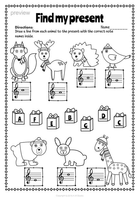 christmas treble clef note reading worksheets  images