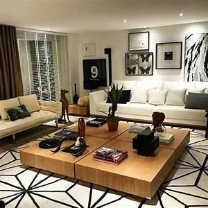 Tapete Living : sala de estar clean mesa de centro em madeira e tapete ~ Yasmunasinghe.com Haus und Dekorationen