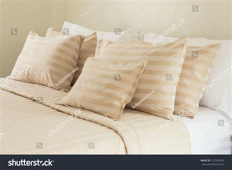 soft bed pillows comfortable soft pillows on bed stock photo 132304526