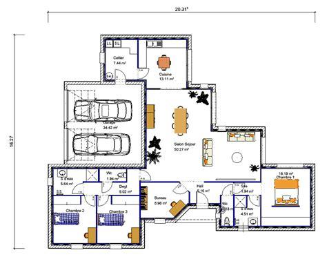 plan maison 3 chambres 1 bureau maison de plain pied en quot v quot 3 chambres crea05