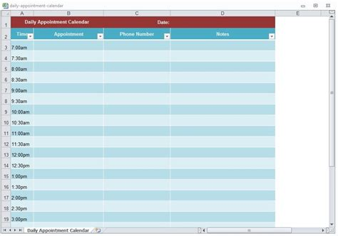 daily appointment calendar template appointment calendar