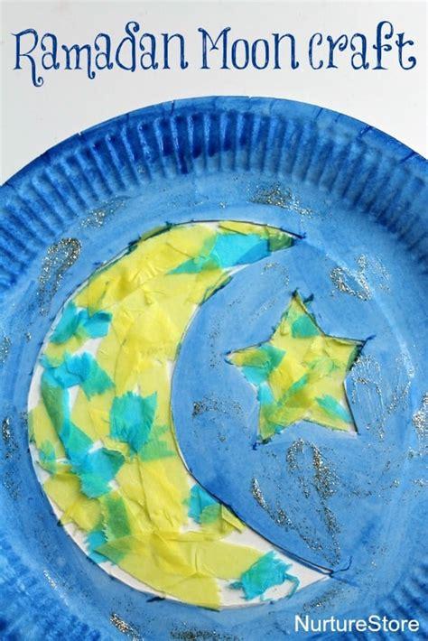 paper plate moon ramadan craft nurturestore 469 | Ramadan craft cresent moon stars