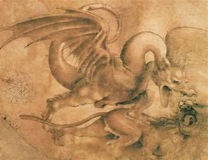 Fight Between A Dragon And A Lion Drawing by Leonardo da Vinci