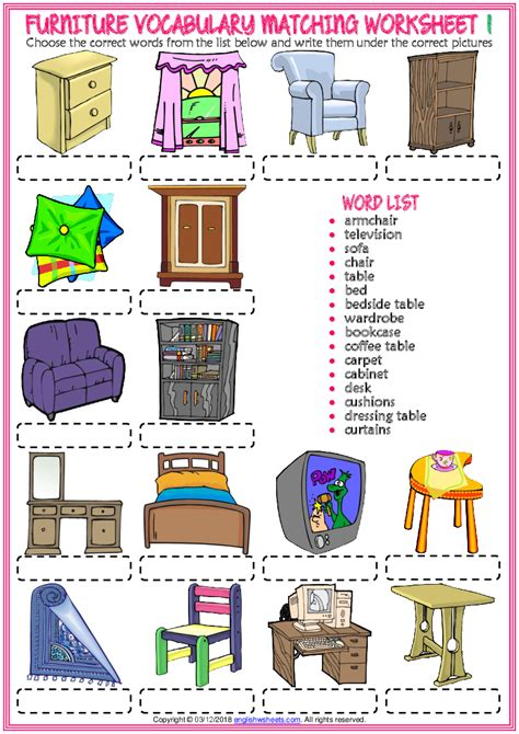 There are a good variety of words in the families that have familiar picture clues (like cat, van, cap, etc). furniture vocabulary esl matching exercise worksheets for ...
