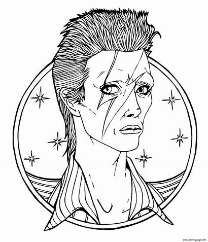 Coloring Bowie Pages Rock David Star Prince