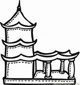 Coloring Temple Buddhist Terrace Drawing Printable Religions Mayan India Chinese Pagoda Temples Colour Buddhism Drawings Children Sketch Buddhists Template Coloringpages101 sketch template