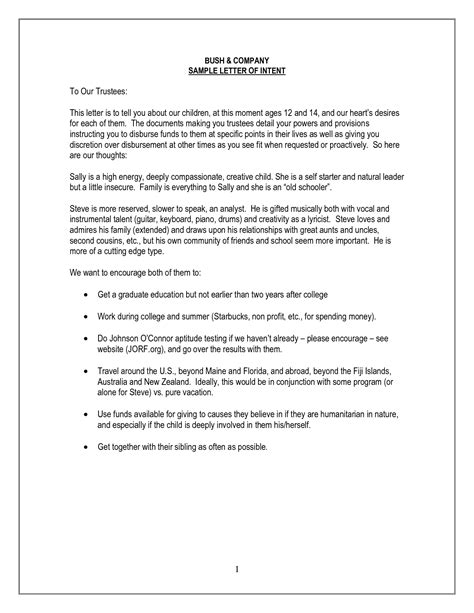 legal letter  intent template sample