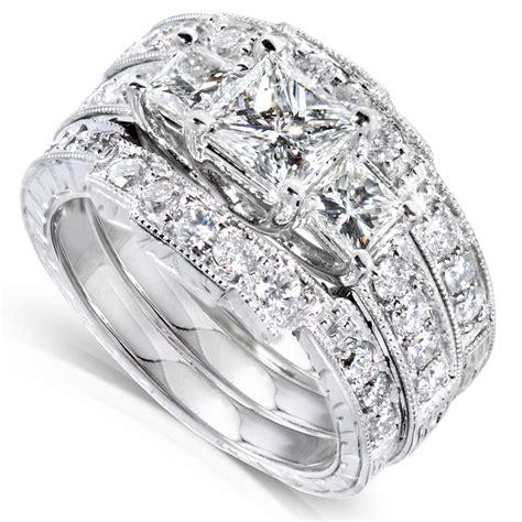 diamond me princess diamond wedding ring set 1 7 8 carats