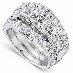 Diamond me princess diamond wedding ring set 1 7 8 carats for Wedding ring sets white gold