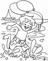 Coloring Pages Beach Summer Boy Running Sheets Holiday Fun Bestcoloringpages Print Drawing Cp Site sketch template