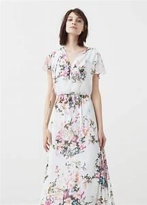 robe mango longue fluide ete 2016 fleuri fond blanc la With robe fluide été