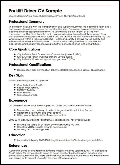 Summary Of Qualifications For Truck Driver by Resume Sle Warehouse Operative Danaya Us