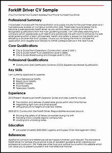 forklift driver cv sample myperfectcv With drivers cv template