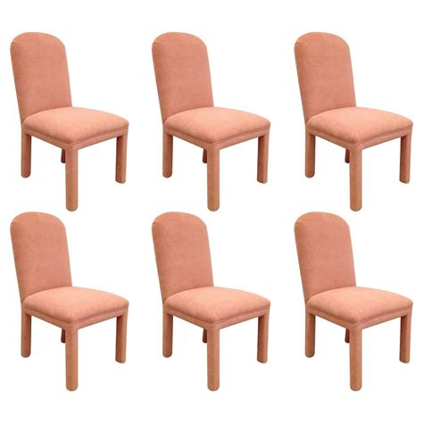 karl springer style set of six dining chairs ultrasuede at