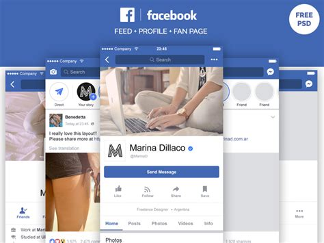 Facebook Mobile Layout Free Psd By Marina