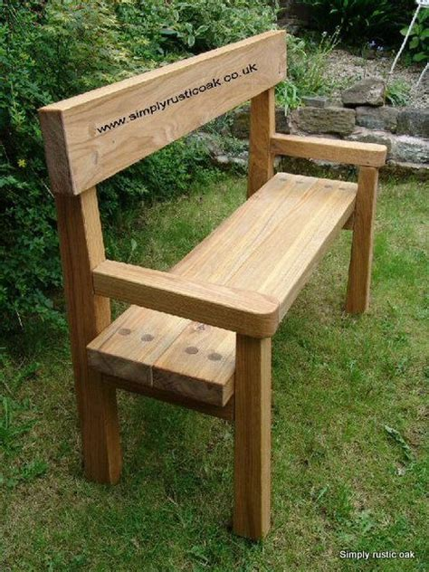 rustic oak garden bench  backrest  arms
