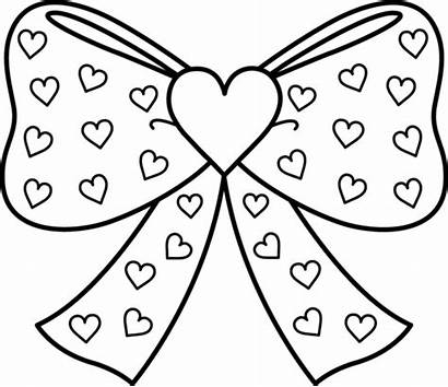 Coloring Bow Hearts Clip Sweetclipart