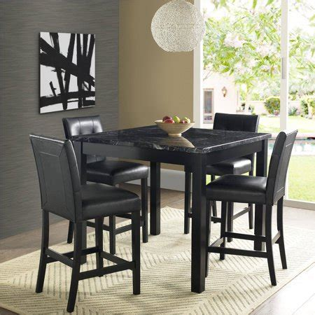 piece faux marble leather counter height dining set