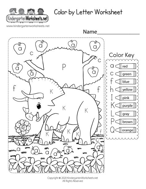 color  letter worksheet  kindergarten