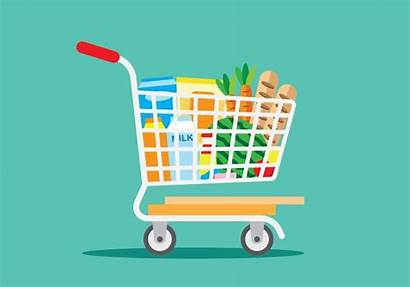Grocery Shopping Vector Clipart Supermarket Trolley Vecteezy