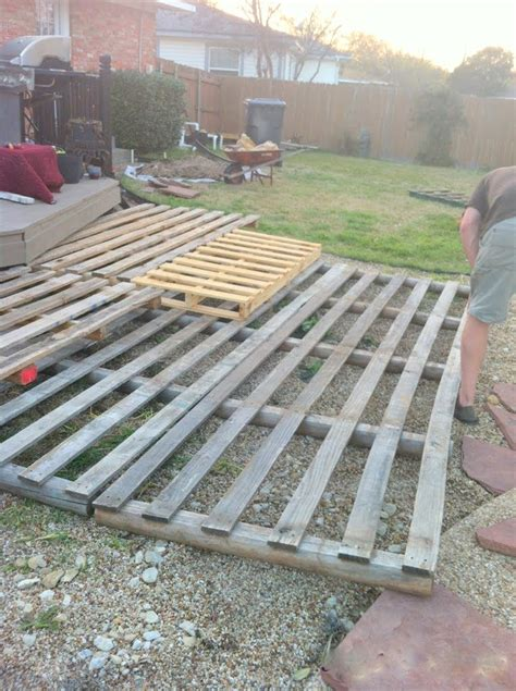 Ideas Using Pallets by Remodelaholic Build A Wooden Pallet Deck For 300