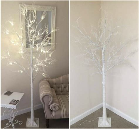 6ft white led tree 6ft twig tree pre lit 120 led warm white lights indoor outdoor use 5060451390674 ebay