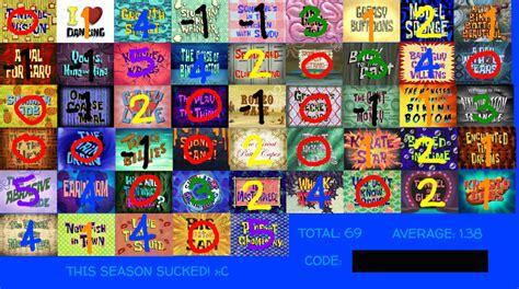 Spongebob Season 7 Scorecard By Aeroboltthedarkfox Fur