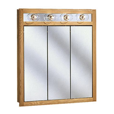 Menards Bathroom Medicine Cabinets With Mirrors by Pace 30 Quot Oak Lighted Tri View Medicine Cabinet At Menards 174