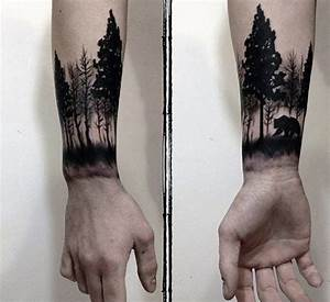 Forest With Bear Awesome Mens Wrist Tattoo | Tattoos ...