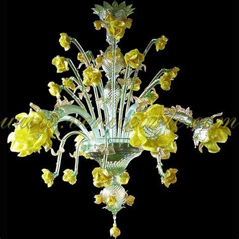Murano Glas Leuchter by Gelbe 6 Leuchten Murano Glas Kronleuchtern